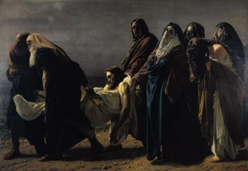 """""""Jesús trasladado al sepulcro"""" (1864-1870), óleo de Antonio Ciseri. Santuario de la Madonna del Sasso, Orselina (Italia)."""