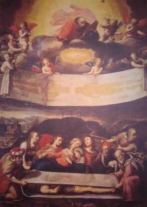 Jesús envuelto en la sábana. Lienzo de Giovanni Battista della Rovere.
