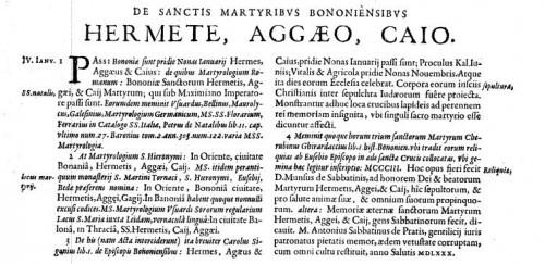"""Mención de los mártires Hermes, Ageo y Cayo en """"Acta Sanctorum Ianuarii"""", vol. 1."""