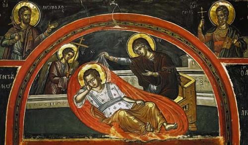 La Virgen velando el sueño del Niño Jesús. Fresco ortodoxo griego.