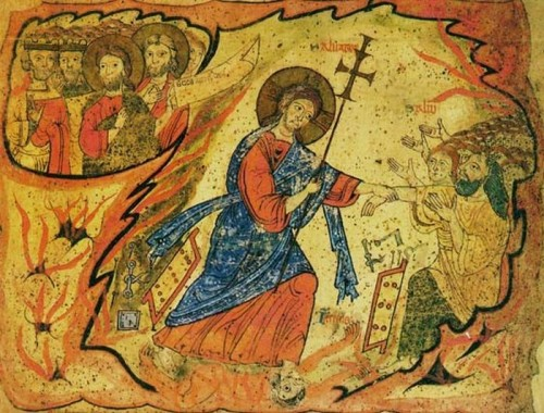 Jesús desciende a los infiernos. Iluminación gótica.