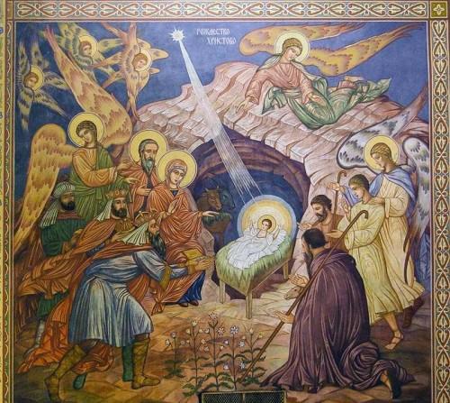 Natividad. Fresco ortodoxo en la catedral de la Asunción, Varna (Bulgaria).