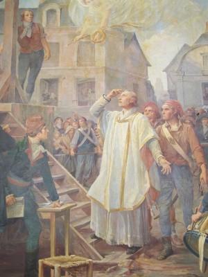 El Beato sube al cadalso. Pintura contemporánea en una iglesia francesa.