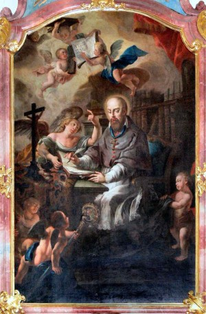 El Santo redactando su obra.  Iglesia de San Francisco de Sales, Strobl, Austria.