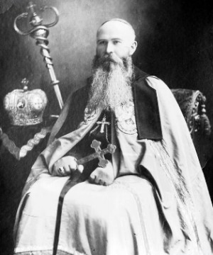 Fotografía del Beato ataviado con sus vestiduras e insignias de obispo.