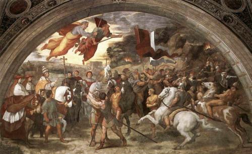 Encuentro entre el Santo y Atila, rey de los hunos. Fresco de Rafaello Sanzio en la Stanza de Heliodoro, Palacio Vaticano, Roma (Italia).