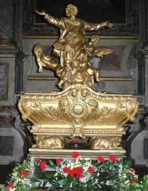 Sarcófago que guarda las reliquias del Santo en su basílica de Toulouse  (Francia).