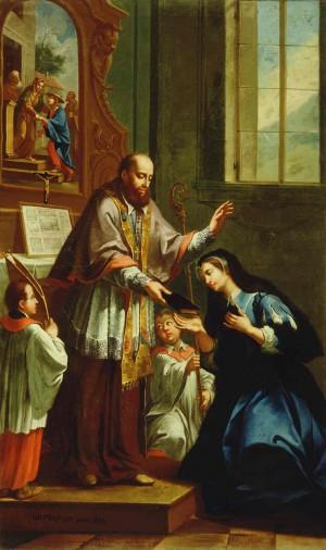 San Francisco entrega la Regla a Santa Juana Francisca de Chantal. Lienzo de Janez Valentin Matzinger, Galería Nacional de Eslovenia.