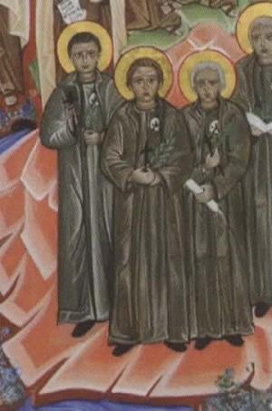 Detalle de los Beatos carmelitas de la Enseñanza en un icono contemporáneo de los mártires carmelitas catalanes.
