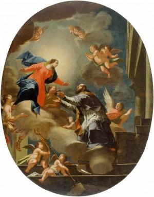 San Francisco y la Virgen. Lienzo de Janez Valentin Metzinger, Galeria Nacional de Eslovenia.