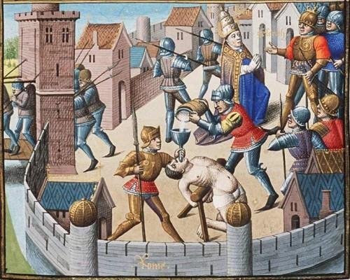 """El Santo negociando con Genserico, rey de los vándalos. Miniatura de Jean de Vignay para el """"Speculum Historiale""""."""