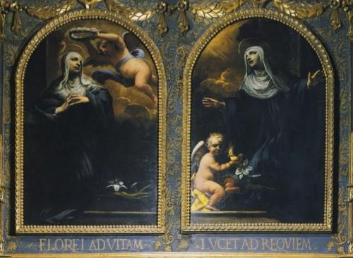 Lienzo barroco de las Santas, obra de R. Vanni. Abadía de las Santas en Arezzo, Italia.
