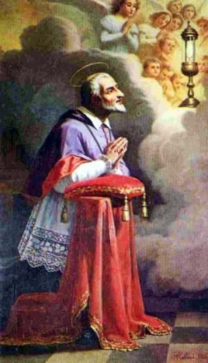 Estampa devocional del Beato Juan Juvenal Ancina en adoración eucarística.