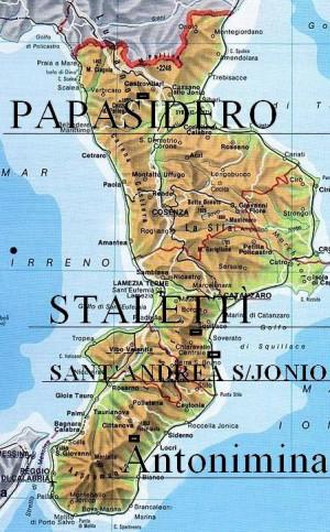 Mapa de la zona de Calabria (Italia).