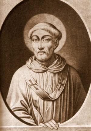 Grabado del Santo en sus vestiduras de pontífice.