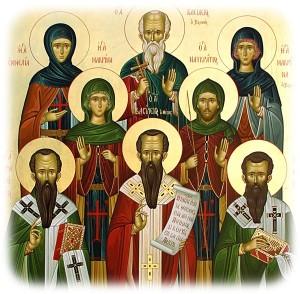 Icono ortodoxo griego con la familia de San Basilio.