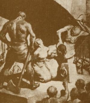 Detalle del Martirio de las Santas, pintura de Miquel Massot. Basílica de Santa Maria de Mataró, España.