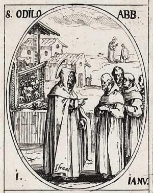 Odilón y sus monjes. Grabado de Jacques Callot para una serie de Santos.