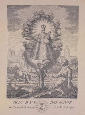 Grabado de la aparición de la Virgen del Olivar.