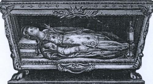 Grabado de la urna de Santa Bonosa tal cual está en la iglesia de Santa María de la Merced y San Adrián en Roma (Italia).