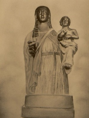 Fotografía antigua de la Virgen de la Salud de Xirivella, sin los adornos de plata.