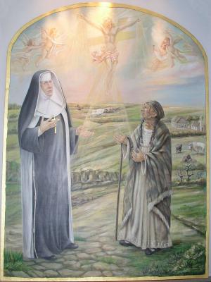 Lienzo contemporáneo de la Santa junto a una indígena norteamericana.