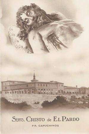Detalle del busto de la escultura y el convento donde se venera. Estampa devocional de los años 40.