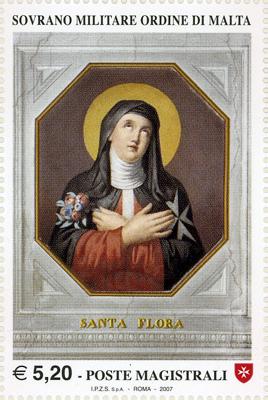 Sello de Malta que representa a Santa Flora de Beaulieu, religiosa hospitalaria.