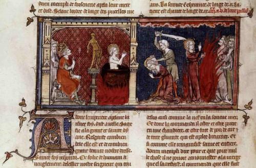 Martirio de las tres hermanas. Miniatura de Mahiet para el Speculum Historiale de Vincent de Beauvais (1330-1350). Biblioteca Nacional de Francia, París.