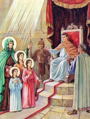 Las Santas ante el emperador Adriano. Ilustración rusa contemporánea.