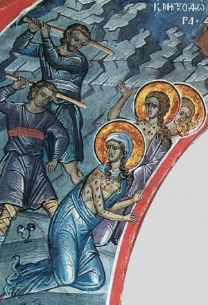 Detalle del martirio de las tres hermanas. Fresco ortodoxo griego en un monasterio del monte Athos (Grecia).