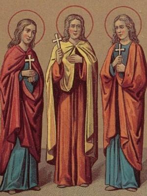 Ilustración de las Santas para el calendario ortodoxo del Prólogo de Ochrid.
