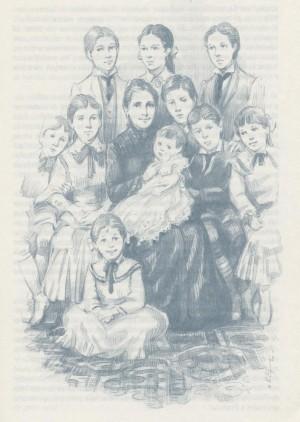 Ilustración de la Beata rodeada de sus hijos, propios y adoptados.