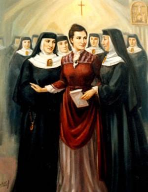Lienzo contemporáneo de la Beata con las religiosas de su Instituto.