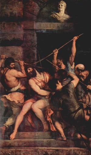 """""""La coronación de espinas"""", lienzo de Tiziano Vecellio. Museo Nacional del Louvre, París (Francia)."""
