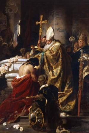 El Santo bautiza al príncipe Vajk. Lienzo de Gyula Benczur, Galería Nacional de Hungría.