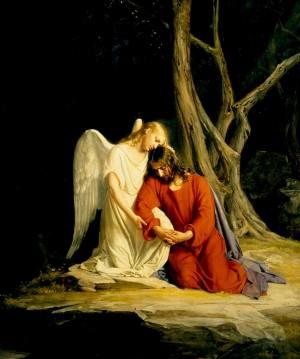Jesús confortado por un ángel. Óleo de Carl Heinrich Bloch.