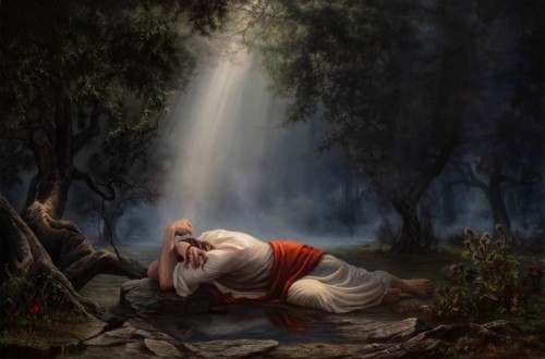 """""""Gethsemané"""", obra de Adam Abram, muestra a Jesús postrado en el Huerto de los Olivos."""