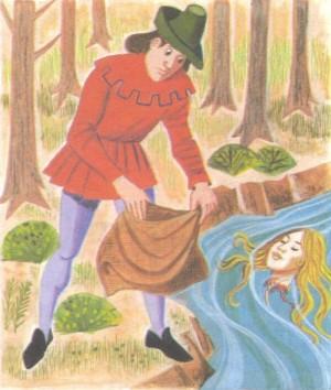 La cabeza de la Santa, arrojada a las aguas. Ilustración infantil.