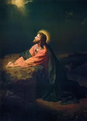 """""""Jesús en el jardín de Gethsemané"""", lienzo de Heinrich Hofmann (1890)."""