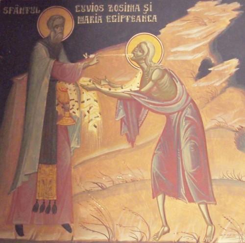 El Domingo de Santa María Egipcíaca se conmemora la vida de esta penitente. Fresco ortodoxo en la catedral rumana de Nuremberg (Alemania).