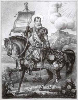 Grabado del Santo, que no en vano lleva el retrato de Bonaparte.