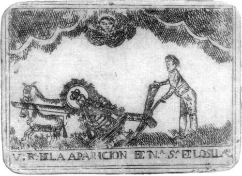 Hallazgo de la imagen. Grabado calcográfico del s.XVIII.