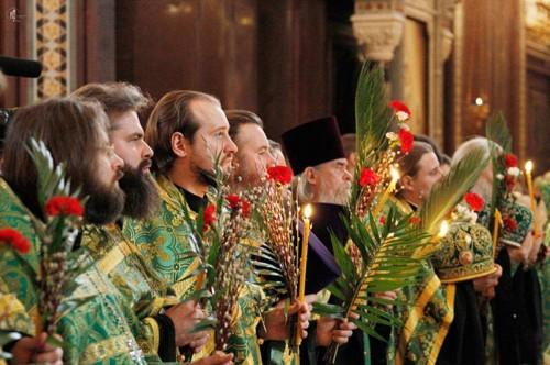 Celebración del Domingo de Ramos en Rusia.