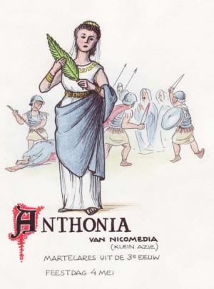 Ilustración de la Santa. En esta versión aparece como Antonia de Nicomedia y siendo ejecutada a espada. Fuente: http://www.heiligen-3s.nl