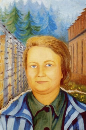 Lienzo de sor Ángela basado en la fotografía conservada.
