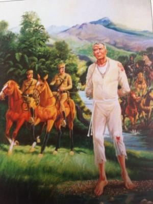 El Santo, capturado, maniatado y llevado prisionero a Yahualica. Ilustración contemporánea.