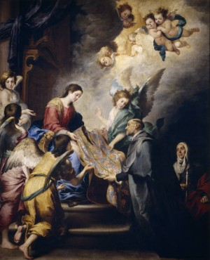 """La Virgen entrega la casulla a San Ildefonso"", lienzo de Bartolomé Esteban Murillo."