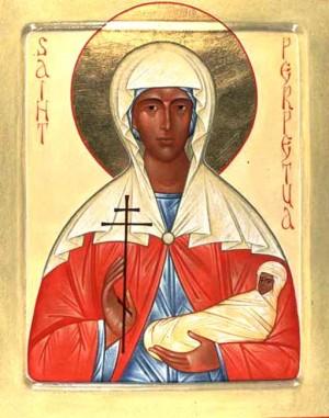 Icono ortodoxo contemporáneo de Santa Perpetua, mártir de Cartago, erróneamente representada como mujer de raza negra.