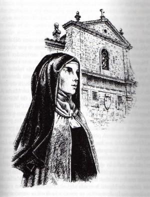 La Sierva de Dios y su fundación de Santiago de Compostela. Ilustración contemporánea.